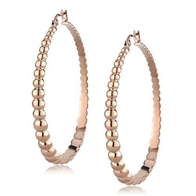 TK3068 - IP Rose Gold(Ion Plating) Stainless Steel Earrings with No Stone