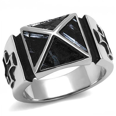 TK3075 - High polished (no plating) Stainless Steel Ring with Leather  in Jet