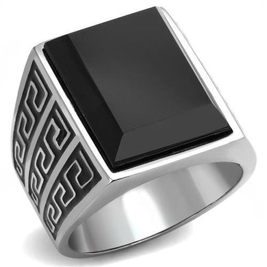 TK3076 - High polished (no plating) Stainless Steel Ring with Synthetic Onyx in Jet