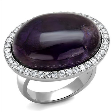 TK3083 - High polished (no plating) Stainless Steel Ring with Semi-Precious Amethyst Crystal in Amethyst
