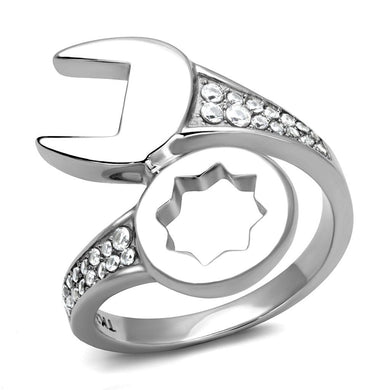 TK3097 - High polished (no plating) Stainless Steel Ring with AAA Grade CZ  in Clear