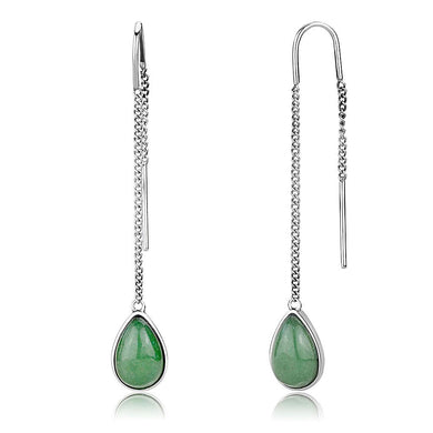 TK3099 - High polished (no plating) Stainless Steel Earrings with Semi-Precious Jade in Emerald