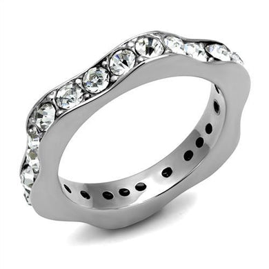 TK3106 - High polished (no plating) Stainless Steel Ring with Top Grade Crystal  in Clear
