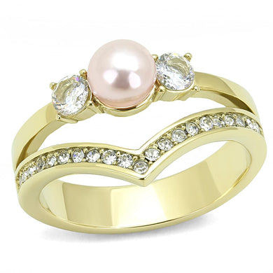 TK3126 - IP Gold(Ion Plating) Stainless Steel Ring with Synthetic Pearl in Rose