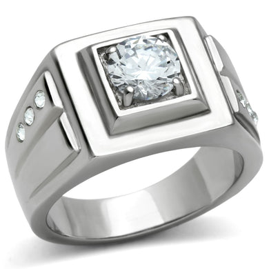 TK313 - High polished (no plating) Stainless Steel Ring with AAA Grade CZ  in Clear