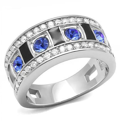 TK3141 - High polished (no plating) Stainless Steel Ring with Top Grade Crystal  in Sapphire