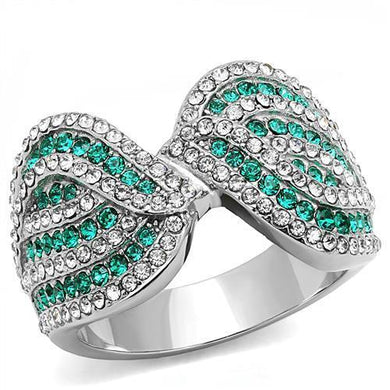 TK3142 - High polished (no plating) Stainless Steel Ring with Top Grade Crystal  in Emerald