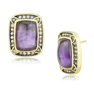 TK3151 - IP Gold(Ion Plating) Stainless Steel Earrings with Semi-Precious Amethyst Crystal in Amethyst