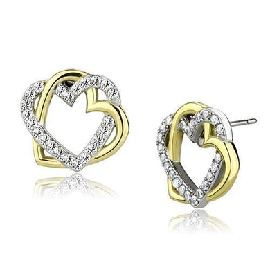 TK3153 - Two-Tone IP Gold (Ion Plating) Stainless Steel Earrings with AAA Grade CZ  in Clear