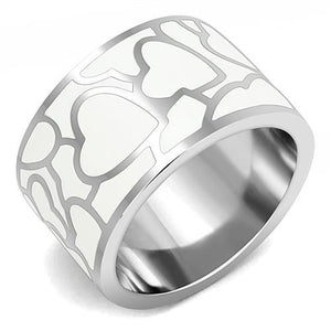 TK3172 - High polished (no plating) Stainless Steel Ring with Epoxy  in White