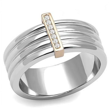 TK3176 - Two-Tone IP Rose Gold Stainless Steel Ring with Top Grade Crystal  in Clear