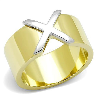 TK3185 - Two-Tone IP Gold (Ion Plating) Stainless Steel Ring with No Stone
