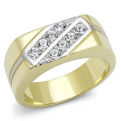 TK3186 - Two-Tone IP Gold (Ion Plating) Stainless Steel Ring with Top Grade Crystal  in Clear