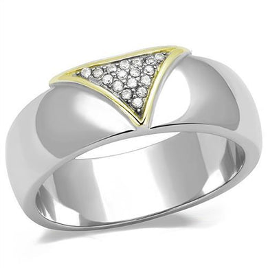 TK3187 - Two-Tone IP Gold (Ion Plating) Stainless Steel Ring with AAA Grade CZ  in Clear