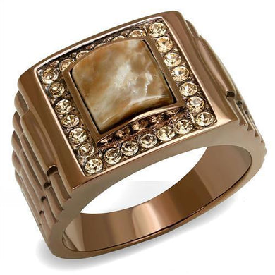 TK3190 - IP Coffee light Stainless Steel Ring with Semi-Precious Rain Flower Stone in Brown