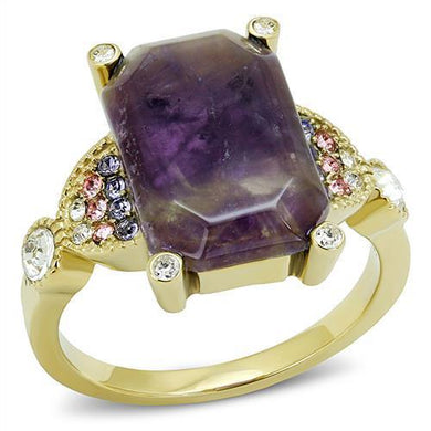 TK3195 - IP Gold(Ion Plating) Stainless Steel Ring with Semi-Precious Amethyst Crystal in Amethyst
