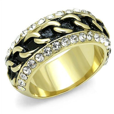 TK3196 - IP Gold(Ion Plating) Stainless Steel Ring with Top Grade Crystal  in Clear