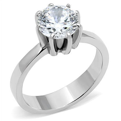 TK3208 - High polished (no plating) Stainless Steel Ring with AAA Grade CZ  in Clear
