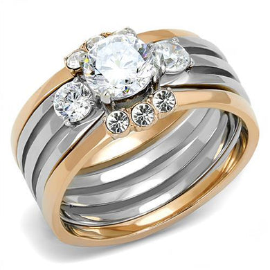 TK3212 - Two-Tone IP Rose Gold Stainless Steel Ring with AAA Grade CZ  in Clear