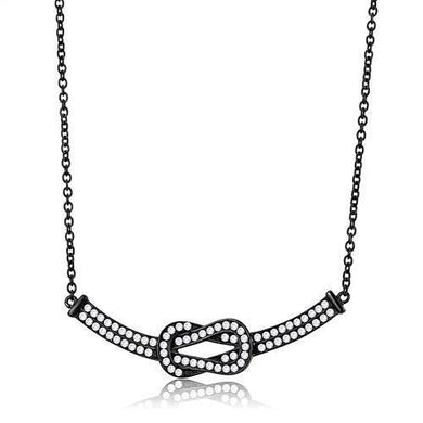 TK3219 - IP Black(Ion Plating) Stainless Steel Chain Pendant with AAA Grade CZ  in Clear
