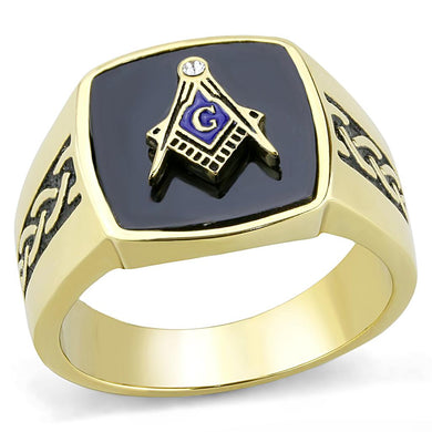 TK3223 - IP Gold(Ion Plating) Stainless Steel Ring with Synthetic Onyx in Jet