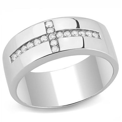 TK3225 - High polished (no plating) Stainless Steel Ring with AAA Grade CZ  in Clear