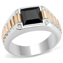 Load image into Gallery viewer, TK3227 - Two-Tone IP Rose Gold Stainless Steel Ring with Synthetic Onyx in Jet