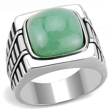 TK3229 - High polished (no plating) Stainless Steel Ring with Synthetic Jade in Emerald