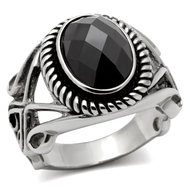 TK322 - High polished (no plating) Stainless Steel Ring with AAA Grade CZ  in Black Diamond