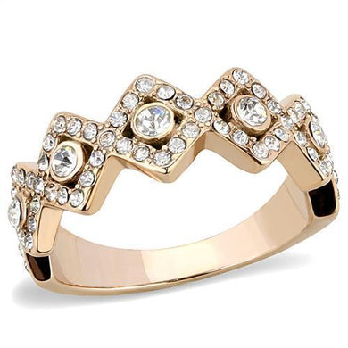 TK3237 - IP Rose Gold(Ion Plating) Stainless Steel Ring with Top Grade Crystal  in Clear