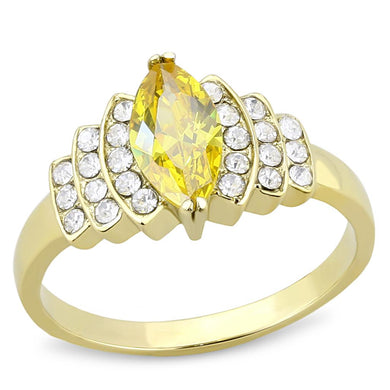 TK3239 - IP Gold(Ion Plating) Stainless Steel Ring with AAA Grade CZ  in Topaz
