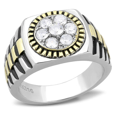 TK3240 - Two-Tone IP Gold (Ion Plating) Stainless Steel Ring with AAA Grade CZ  in Clear
