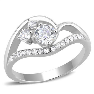 TK3243 - High polished (no plating) Stainless Steel Ring with AAA Grade CZ  in Clear