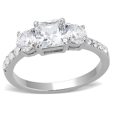 TK3246 - High polished (no plating) Stainless Steel Ring with AAA Grade CZ  in Clear