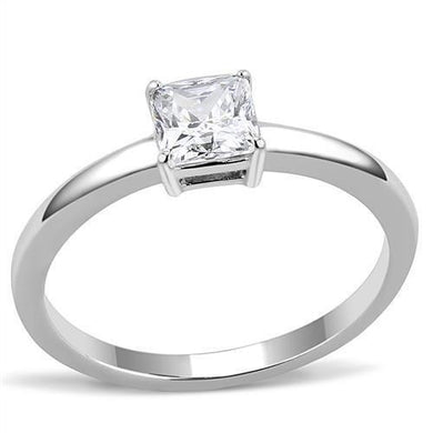 TK3250 - High polished (no plating) Stainless Steel Ring with AAA Grade CZ  in Clear