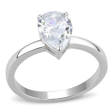 TK3251 - High polished (no plating) Stainless Steel Ring with AAA Grade CZ  in Clear