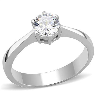 TK3252 - High polished (no plating) Stainless Steel Ring with AAA Grade CZ  in Clear