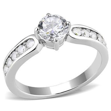 TK3256 - High polished (no plating) Stainless Steel Ring with AAA Grade CZ  in Clear