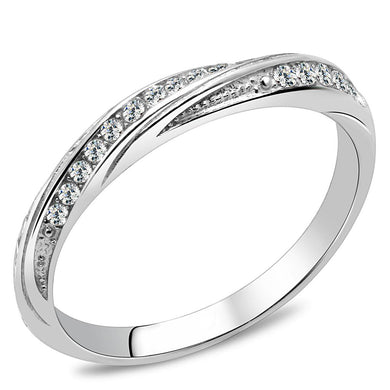 TK3259 - High polished (no plating) Stainless Steel Ring with AAA Grade CZ  in Clear