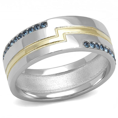 TK3266 - Two-Tone IP Gold (Ion Plating) Stainless Steel Ring with Top Grade Crystal  in Montana