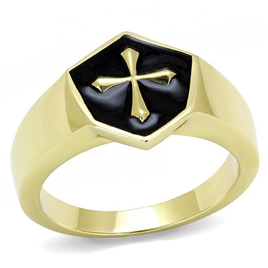 TK3268 - IP Gold(Ion Plating) Stainless Steel Ring with Epoxy  in Jet