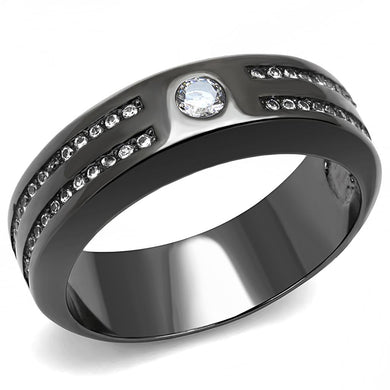 TK3275 - IP Light Black  (IP Gun) Stainless Steel Ring with AAA Grade CZ  in Clear
