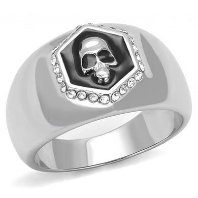 TK3277 - High polished (no plating) Stainless Steel Ring with Epoxy  in Jet