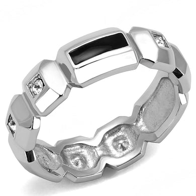 TK3281 - High polished (no plating) Stainless Steel Ring with Top Grade Crystal  in Clear