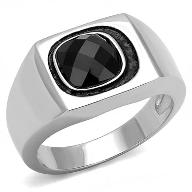 TK3283 - High polished (no plating) Stainless Steel Ring with Synthetic Synthetic Glass in Jet
