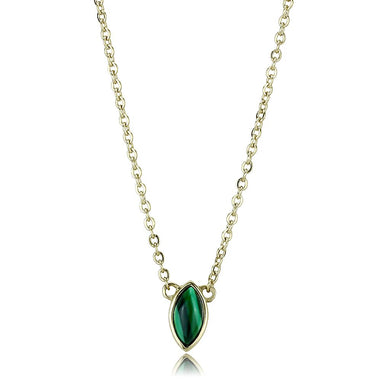 TK3286 - IP Gold(Ion Plating) Stainless Steel Necklace with Synthetic MALACHITE in Emerald