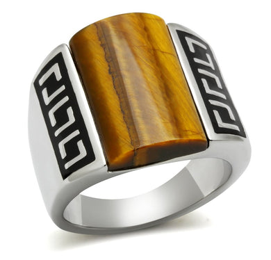 TK328 - High polished (no plating) Stainless Steel Ring with Semi-Precious Tiger Eye in Smoked Quartz