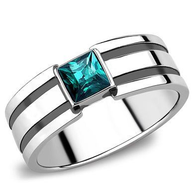 TK3291 - High polished (no plating) Stainless Steel Ring with Top Grade Crystal  in Blue Zircon