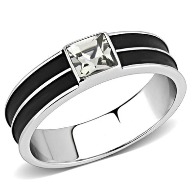 TK3292 - High polished (no plating) Stainless Steel Ring with Top Grade Crystal  in Black Diamond