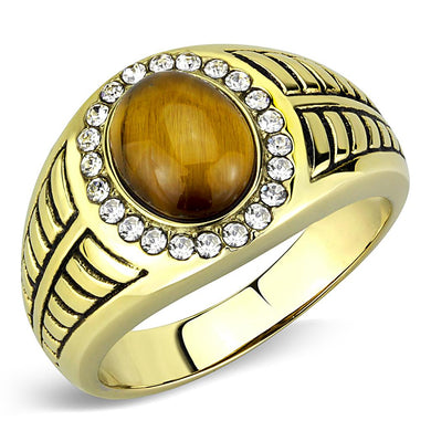 TK3293 - IP Gold(Ion Plating) Stainless Steel Ring with Synthetic Tiger Eye in Topaz
